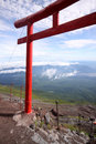 Red Japanese tori gate on top of Mt. Fuji Royalty Free Stock Photo