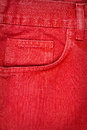 Red jeans fabric with pocket background Stock Photography