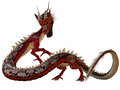 Red jewel dragon a creature of myth and fantasy the is a fierce monster with horns and large teeth Stock Image