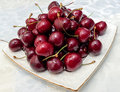 Red juicy Cherries on white plate Royalty Free Stock Photo