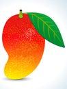 Red juicy mango with leaf