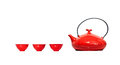 Red Kettle and cups - with clipping path Royalty Free Stock Photography