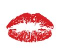 Red kiss print vector illustration of the Stock Photography