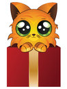 Red kitten in a box cute cartoon gift on white background Royalty Free Stock Images