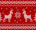 Red knit with goat seamless pattern tile vector Royalty Free Stock Photo