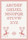 Red knitted alphabet with deer vector illustration Stock Image