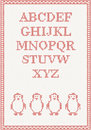 Red knitted alphabet with penguin vector illustration Stock Images