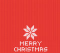 Red knitted Christmas background with white snowflake. Vector EPS 10 Royalty Free Stock Photo