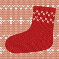 Red knitted sock on seamless pattern this is file of eps format Stock Images