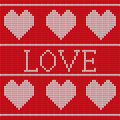 Red knitted sweater pattern vector seamless with hearts Royalty Free Stock Image