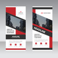 Red label polygon Business Roll Up Banner flat design template