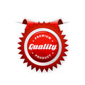 Red label with quality sign. Royalty Free Stock Photo