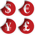 Red labels with  currency symbols Stock Image