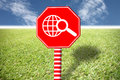 Red labels with images world on grass and blue sky. Royalty Free Stock Photo