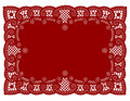 Red Lace Doily Place Mat Stock Photos