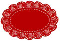 Red Lace Doily Place Mat, Leaf Edge Royalty Free Stock Photo