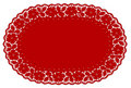 Red Lace Doily Place Mat, Rose Pattern Stock Image