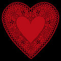 Red Lace Heart Doily on Black Background Royalty Free Stock Images