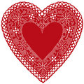 Red Lace Heart Doily on White Background Royalty Free Stock Photo