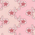 Red lace vector fabric seamless  pattern Stock Image