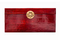 Red lacquer box chinese linen with brass handle Stock Image