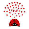 Red lady bug insect with hearts. Cute cartoon smiling face character. Royalty Free Stock Photo