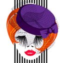 Red lady face of a with a purple old fashioned hat and a veil Royalty Free Stock Photography