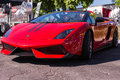 Red lamborghini on exhibition parking at an annual event superca los angeles california usa abril supercar sunday day abril in Royalty Free Stock Image