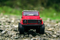 Red land rover defender off road car Stock Photography