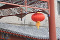 Red lantern with historic building Royalty Free Stock Image