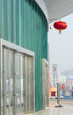 Red lantern the was hanged in modern architecture during chinese new year spring festival Royalty Free Stock Photos