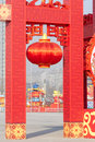 Red lantern the was hung up in the spring festival chinese new year Royalty Free Stock Photography