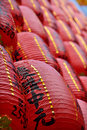 Red lanterns for blessing are lit and arrayed like a wall at keelung mid summer ghost festival Stock Photo