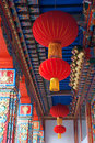 Red lanterns the hang in the hall of jixiang temple in wutaishan shanxi china Stock Photo