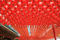 Red lanterns a lot of around chinese temple Royalty Free Stock Image
