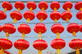 Red lanterns many are hanged during chinese new year spring festival Royalty Free Stock Image