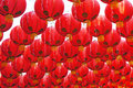 Red lanterns photo of hanging Stock Photography