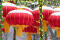 Red lanterns the were hunged during spring festival chinese new year Royalty Free Stock Images