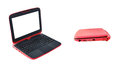Red laptop on white background Stock Image