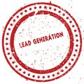 Red LEAD GENERATION distressed rubber stamp with grunge texture