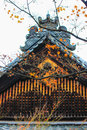 Red leaf and roof inside kotoin temple kyoto japan Stock Photography