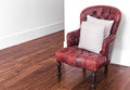 Red leather armchair classic luxury on wood floor Stock Images