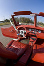 Red leather auto interior Royalty Free Stock Photo
