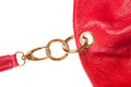 Red leather bag detail Royalty Free Stock Photo