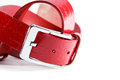 Red leather belt new stylish on white background Royalty Free Stock Image