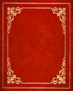 Red leather cover and golden book Stock Photography