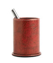 Red leather pen holder cylinder Royalty Free Stock Photo