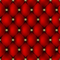Red leather upholstery with gold button pattern background Royalty Free Stock Photo