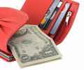 Red leather wallet with dollars and credit card Stock Images