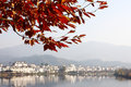 Red leaves and jiangwan village wuyuan the near the river china Royalty Free Stock Photo